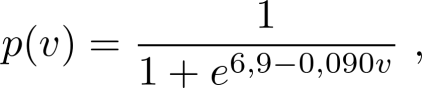 p(v) = 1 / (1 + exp(6,9 − 0,090v)) ,